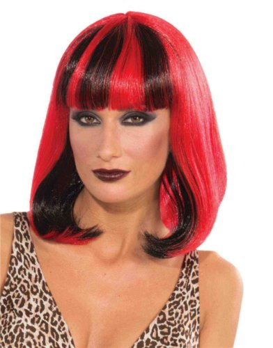 Adult's Red Vampire Princess Costume Sizzle Wig With Black Steaks