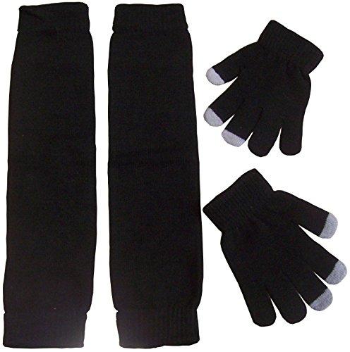 N'Ice Caps Girls Magic Stretch Leg Warmer And Magic Glove Set (8-12 Yrs, Black Solid)