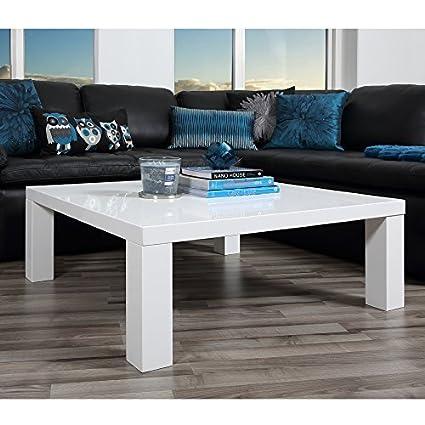 lounge-zone moderner Couchtisch Sofatisch Wohnzimmertisch Wohnzimmer Tisch SALT hochglanz weiß 90x90cm 12884