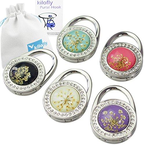 Kilofly-Gancio porta borsa, pieghevole, con supporto, 5 pezzi, con confezione regalo