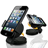 Lugii® High Quality Mini Car WindShield Mount Holder Dash Bracket Cardle Fits For Mobile phones SmartPhones and Sat Nav's Up to 8Cm Wide Including GPS, PSP, iPod, MP4, MP3, Apple Iphone 5, 5c, 5s, 4, 4s, 3gs, Htc Sensation xe, xl, 8x, 8s, One, v, x, Wind
