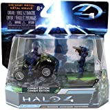 """HALO 4 Combat Edition: 2.8"""" UNSC Mongoose with Blue Spartan Soldier and Warrior."""
