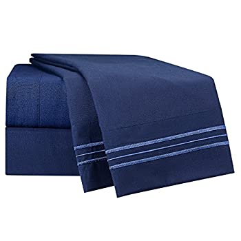 Queen Size Bed Sheets Set, Blue Dark Navy, Highest Quality Bedding Sheets Set on Amazon, 4-Piece Bed Set, Deep Pockets Fitted Sheet, 100% Luxury Soft Microfiber, Hypoallergenic, Cool & Breathable