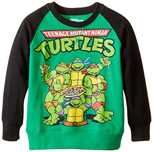 Teenage Mutant Ninja Turtles Little Boys' Classic Long Sleeve Sweatshirt, Kelly/Black, 7 (Kids Ninja Turtle Sweatshirt compare prices)