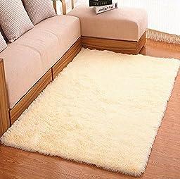 Ultra Soft 4.5 CM Thick Indoor Morden Area Rugs Pads for [Bedroom] [Livingroom] [Sitting-room] [Rugs] [Blanket] [Footcloth]2.5Feet* 5Feet (beige)