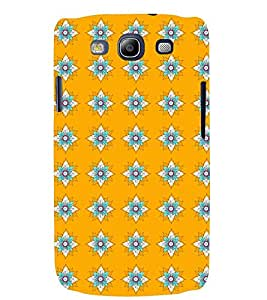 Printvisa Yellow And Flue Floral Pattern Back Case Cover for Samsung Galaxy S3::Samsung Galaxy S3 i9300