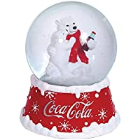 Coca-Cola Coke Polar Bears Red Snowflake Musical White Christmas Snowglobe by WESTLAND GIFTWARE INC