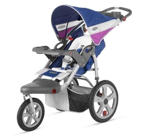 InStep Grand Safari Single Swivel Stroller, Blue/Grape