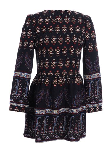 Anna-Kaci S/M Fit Black With All Over Colorful Ethnic Print Knife Pleat Dress