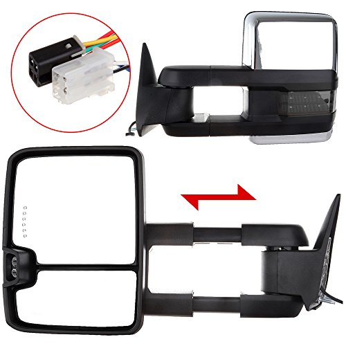 Scitoo Power w/Led Turn Signal Lights Chrome Towing Mirrors For 88-98 Chevrolet GMC C/K 1500 2500 3500 Side Mirror Pair Set (98 Chevy 1500 Tow Mirrors compare prices)