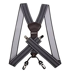 JIERKU Grey Suspenders Men\'s Suspenders Heavy Duty Men Suspender Grey Stripe