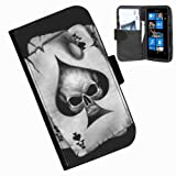 Hairyworm-Skulls Nokia Lumia 800 leather side flip wallet cover case for Nokia Lumia 800 phone