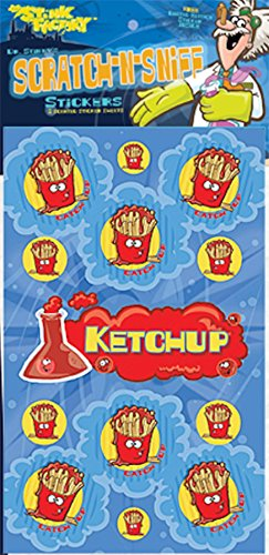 Dr Stinky's KETCHUP Scratch-and-Sniff Stickers, 2 sheets 4 x 6 3/4, 26 stickers