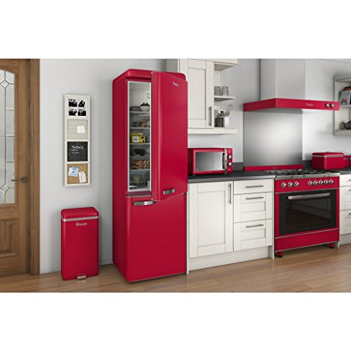 SWAN Retro Manual Microwave, 25 Litre, 900 W, Red