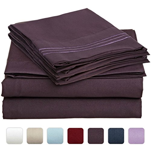 #1 Bed Sheet Set On Amazon - Super Silky Soft - Sale - Highest Quality 100% Brushed Microfiber 1800 Bedding Collections - Wrinkle, Fade, Stain Resistant - Hypoallergenic - Deep Pockets - Luxury Fitted & Flat Sheets, Pillowcases - Best For Bedroom, Guest R front-733795