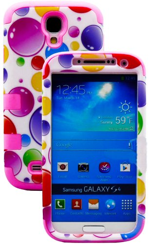 """Mylife Bubblegum Pink - Colorful Bubble Pattern Design (3 Piece Hybrid) Hard And Soft Case For The Samsung Galaxy S4 """"Fits Models: I9500, I9505, Sph-L720, Galaxy S Iv, Sgh-I337, Sch-I545, Sgh-M919, Sch-R970 And Galaxy S4 Lte-A Touch Phone"""" (Fitted Front A"""