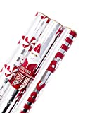 Hallmark Christmas Wrapping Paper (Foil Santa, 3 Pack)