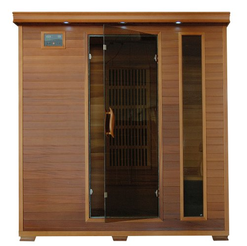 4 Person Sauna FAR Infrared Red Cedar Wood 9 Carbon Heaters CD Player MP3 Color Light Therapy - Heat Wave Klondike