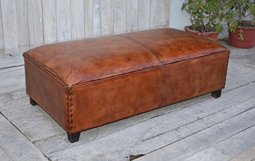 Panca pouf seduta pelle rettangolare grande industrial vintage marrone