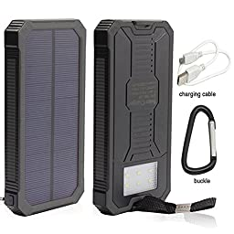 Solar Power, 12000mAh Portable Solar Powered Phone Charger Dual USB Solar External Battery Pack Power Bank for Cellphones With Solar LED Lights For Emergency or As A Camping Light (Black)