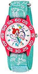 Disney Kids W001190 Ariel Little Mermaid Time Teacher Watch with Blue Nylon Band