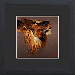 King Silk Art 100% Handmade Embroidery African Lion Praying Chinese Print Large Framed Wildlife Animal Painting Gift Oriental Asian Wall Art Décor Artwork Hanging Picture Gallery 34087BFG