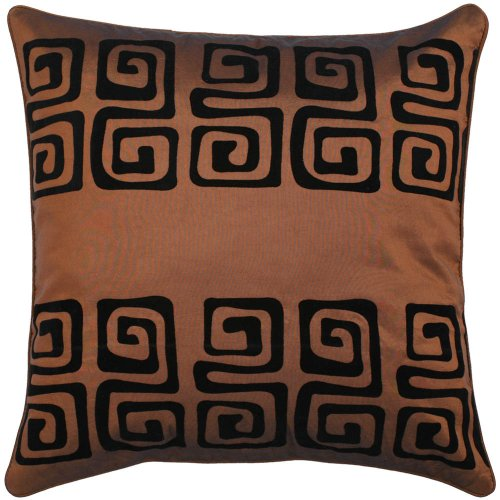 Decorative Handmade Cushion Cover / Pillow Sham With Contemporary Black Swirl Design - Brown