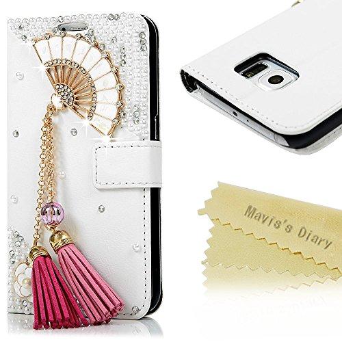 Samsung Galaxy S6 Custodia in Pelle Morbida PU Case Cover Cristallo Strass 3D DIY Diamante- Mavis's Diary Custodia con il caso della copertura di vibrazione,chiusura magnetica,Funzione di sostegno Stand,con la copertura del raccoglitore per la Carte - Progettazione ventaglio pieghevole