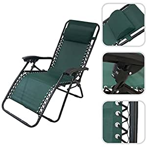 Reclining garden deck chair metal sun lounger with for Amazon uk chaise longue