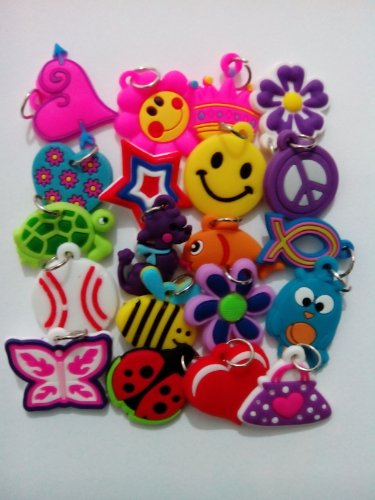 20 Silicone Charms - By Toto Charms - Compatible with All Common Bracelet Rubber Band Loom Kits - Assorted Designs - Colourful - For Childrens' Jewelry, Arts & Crafts