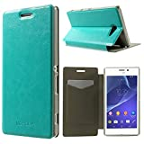 Dulcii Xperia M2 Aqua Case, Crazy Horse Texture Folio Leather Card Holder Stand Cover w/ Free Screen Protector Film for Sony Xperia M2 Aqua, With Retail Package - Baby Blue