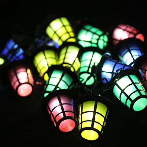 Fuloon 20 Led Multi Coloured Christmas Party Barbecue Lights Lantern Style Shade Mains Plug Indoor Outdoor (110V) (Colorful)