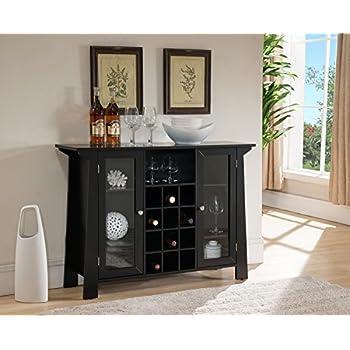 Kings Brand Furniture Matanuska Wood Buffet Bar Cabinet with Wine Storage, Black