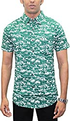 AA' Southbay Men's Green Skate Print 100% Cotton Half Sleeve Hawaiin Print Beach Wear Casual Shirt