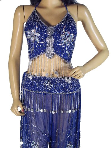 Blue Belly Dancing Dress Harem Pants Lyrical Dance Wear Coin Costume Clothing S