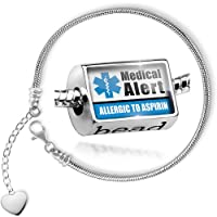 Charm Set Medical Alert Blue Allergic to Aspirin - Bead comes with Bracelet , Neonblond from NEONBLOND