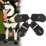 全8サイズ[sealche]犬ペット用靴ドック防水シューズ(ワンちゃんの足を守る必須アイテム・お散歩後の足も綺麗でお手入れ楽々)ブラック サイズM:高さ6.5cm、靴底長さ6.0cm