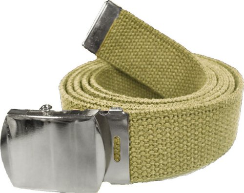"100% Cotton Military 54"" Web Belt (Khaki Belt w/ Chrome Buckle)"
