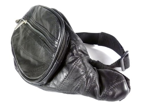 Black Leather Bum / Hip / Waist Bag with 4 Pockets - Main Front Pocket