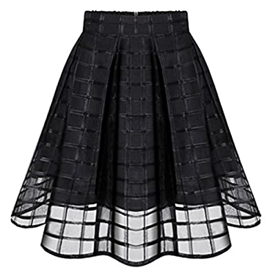 Jiayiqi Fashion Organza Pleated Skirt Plain Casual Party Midi Skirt for Women