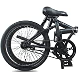 "Projekt City - 20"" inch City Bike Compact Folding Single Speed Uno College Bicycle, Black (Matte Black)"