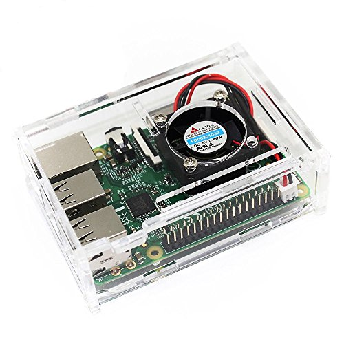 TRIXES Clear Acrylic Case with Cooling Fan for Raspberry Pi 3 & 2 Model B and Raspberry Pi Model B+ (Clear Cooling Fan compare prices)