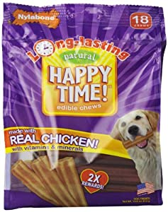 Nylabone Happy Time Dog Chews, Net Wt. 14.6 oz.., 18 Count Pack
