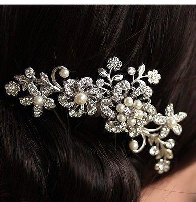 Women Bridal Wedding Flower Diamante Crystal