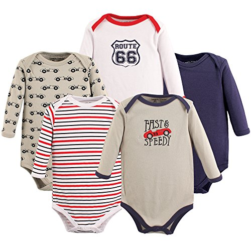 Luvable Friends 5 Pack Long Sleeve Bodysuit. Speedy, 0-3 Months