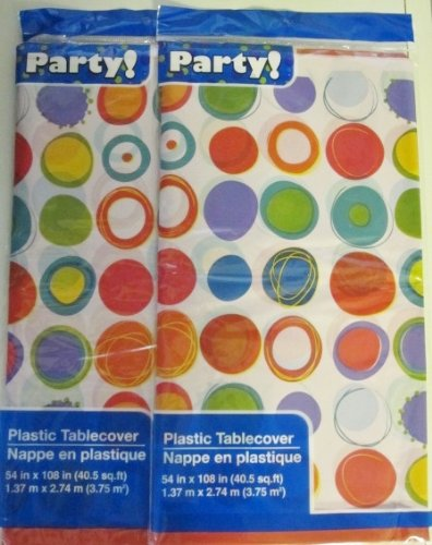 "Plastic Table Covers, 54x108"" (2-pack) (54 in. x 108 in., Polka Dots)"