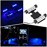 IPUIS 4 Pcs 3 LED Néon Eclairage Lampe d'Ambiance Lumières Bleu Pour Décoration Intérieur Voiture Auto...