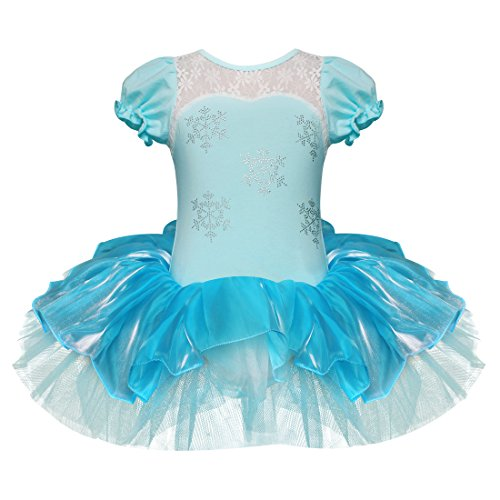 iEFiEL Girls Elegant Snowflake Princess School Ballet Dance Wear Party Dress