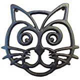 Cat Trivet - Black Cast Iron - for Kitchen & Dining Table - More than One Makes a Set for Counter, Wall Art or Decoration Accessory - Housewarming & Cat Lover Gifts - 6.6 by 6.3 In
