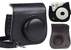 [Fujifilm Instax Mini 8 Case] - Katia PU Leather Instax Mini 8 Camera Case Bag With Pocket (Black)